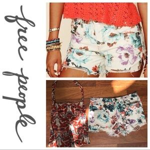 Free People denim floral shorts w/FREE bag